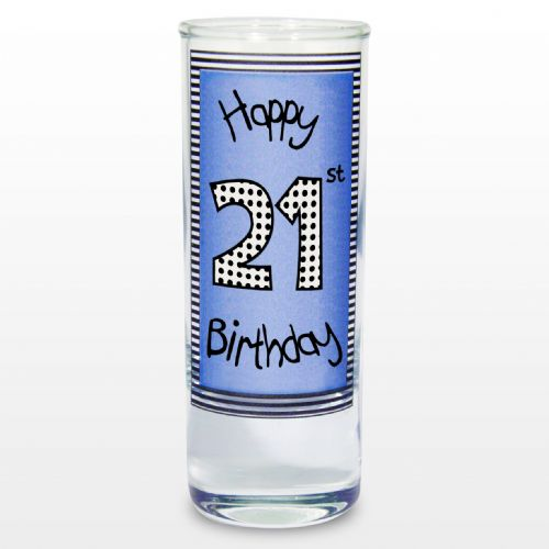 Blue 21st Happy Birthday Shot Glass Gift Keepsake